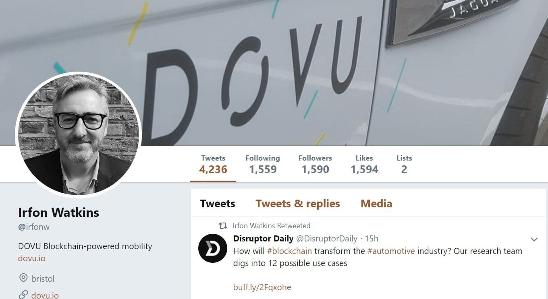 DOVU Co-Founder Irfon Watkins via Twitter