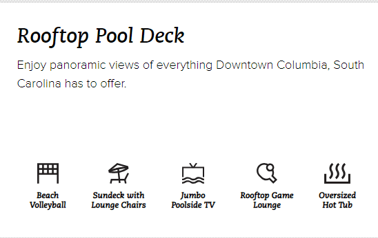 Amenities via Columbia Hub Homepage