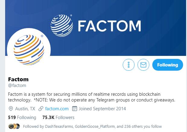 Factom via Twitter
