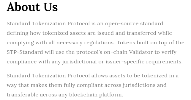 Standard Tokenization Protocol via Homepage
