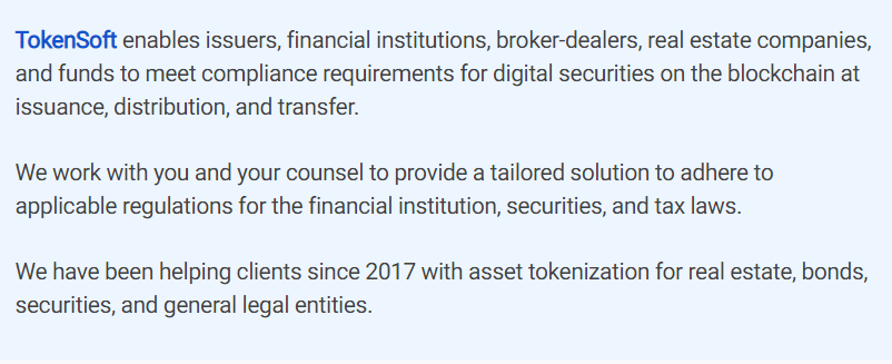 TokenSoft via Homepage
