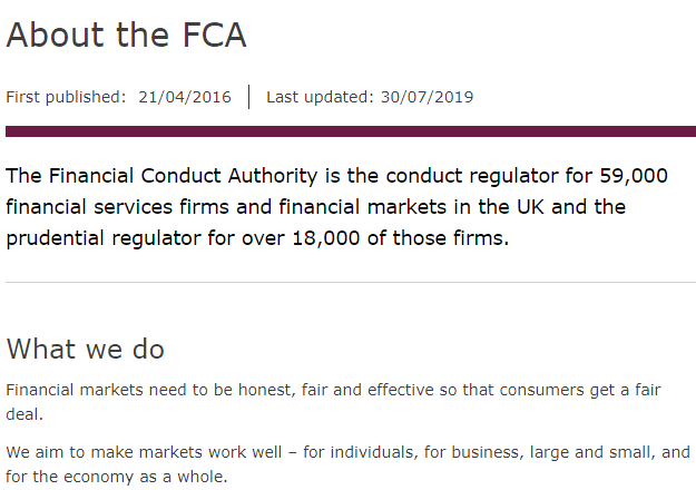 FCA via About Us Page