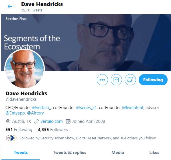 Vertalo CEO Dave Hendricks