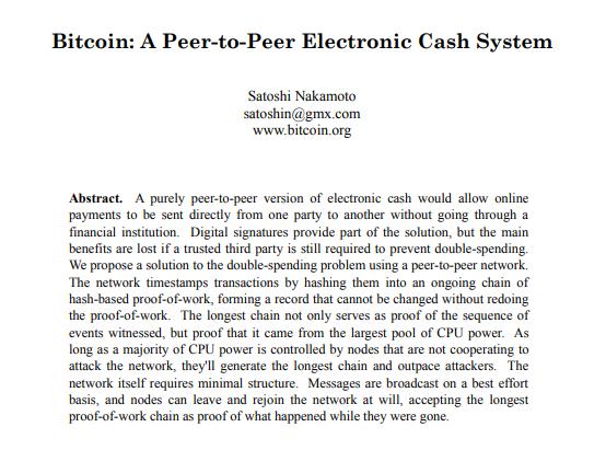 Digital Assets - The Bitcoin Whitepaper