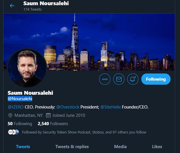 tZERO CEO Sam Noursalehi